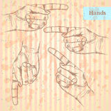 Pointing  hand, vector  background in sketch style Stock Photo