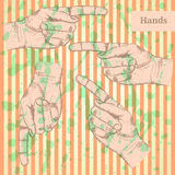 Pointing  hand, vector  background in sketch style Royalty Free Stock Photos