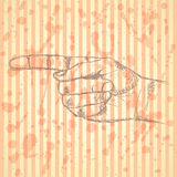 Pointing  hand, vector  background in sketch style Royalty Free Stock Photo