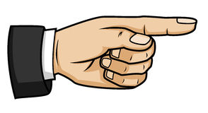 Pointing hand. Vector cartoon Illustration Stock Photos