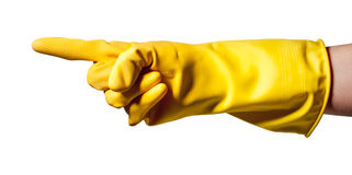 Pointing hand wearing rubber glove Royalty Free Stock Photo