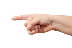 Pointing hand on white background Royalty Free Stock Photos