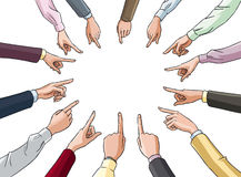 Pointing hands in circle Stock Photography