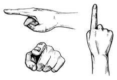Pointing hands set. Vector illustration set of a hands pointing in different directions: top, side, front. Hand pointing on you vector illustration