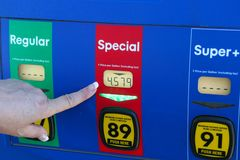 Pointing at High Gas Price Royalty Free Stock Image