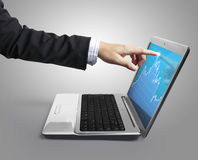 Pointing at laptop Royalty Free Stock Image