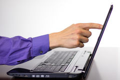 Pointing at Laptop Computer Display Screen Stock Photography
