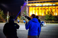 Pointing laser on government building, Bucharest, Romania Royalty Free Stock Images