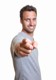 Pointing latin man Stock Photography