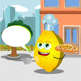 Pointing lemon chef with pizza in the city with speech bubble Stock Photos