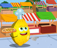 Pointing lemon chef with pizza on the market Royalty Free Stock Images