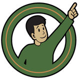 Pointing Man. Pointing Fellow sticker. Vector illustration of man with pointing hand Royalty Free Stock Photography