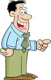Pointing Man. Cartoon illustration of a smiling man pointing Royalty Free Stock Photo
