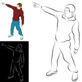 Pointing Man Line Drawing Royalty Free Stock Photos