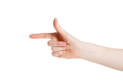 Pointing. Man points by his finger Stock Photography