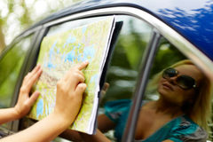Pointing at map Royalty Free Stock Photography