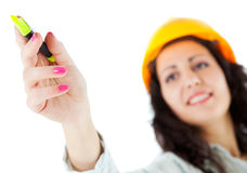 Pointing marker woman hardhat Royalty Free Stock Images