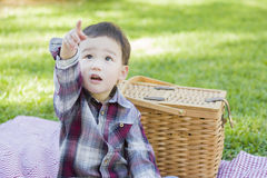 Pointing Mixed Race Toddler Sitting in Park Near Picnic Basket Royalty Free Stock Photos