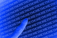 Pointing at money background Stock Images
