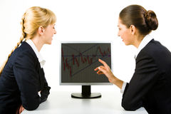Pointing at monitor Royalty Free Stock Photo