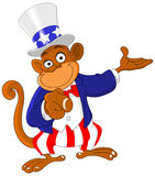 Pointing monkey. Dressed as Uncle Sam icon I want you Stock Photos