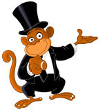 Pointing monkey 2. Charming monkey with black suit and a brimmed hat Pointing Royalty Free Stock Images