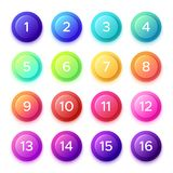 Pointing number on gradient bullet button icon. Colorful 3D circle buttons with point numbers on ball bullets isolated vector illustration
