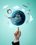 Pointing On Earth Royalty Free Stock Photos