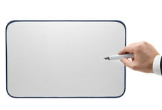 Pointing onto whiteboard Royalty Free Stock Images