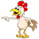 Pointing out cartoon chicken Royalty Free Stock Photos