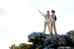 Pointing outdoors hike Royalty Free Stock Photography