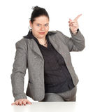 Pointing overweight, fat businesswoman Royalty Free Stock Photography