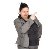Pointing overweight, fat businesswoman Stock Image