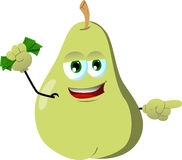 Pointing pear with money in his other hand Royalty Free Stock Photography