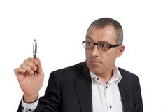 Pointing with the pen royalty free stock image