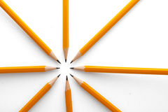 Pointing pencils Stock Photo