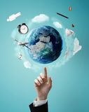 Pointing on planet Stock Photography