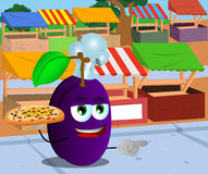 Pointing plum chef with pizza on the market Royalty Free Stock Photography