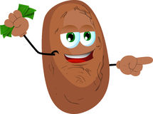 Pointing potato with money in his other hand Stock Image