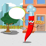 Pointing red hot chili pepper chef with pizza in the city with speech bubble Stock Photos