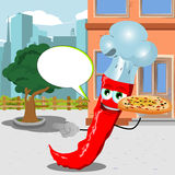 Pointing red hot chili pepper chef with pizza in the city with speech bubble Royalty Free Stock Photos