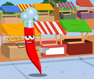 Pointing red hot chili pepper chef with pizza on the market Royalty Free Stock Photography