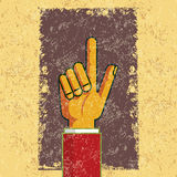 Pointing retro hand to indicate Royalty Free Stock Photography