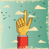 Pointing retro hand to indicate in the sky. Pointing retro hand , to indicate in the sky Royalty Free Stock Image