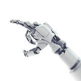 Pointing robotic arm. Isolated robotic pointing arm on white background Royalty Free Stock Photos
