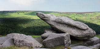 Pointing Rock over the Derbyshire Peak District Stock Photography