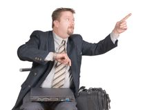 Pointing rushed businessman Royalty Free Stock Images
