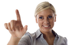 Pointing at the screen Royalty Free Stock Images