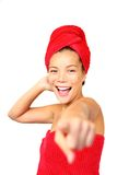 Pointing shower / spa woman Stock Image