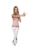 Pointing showing woman smiling cheerful. Funny high angle portra Stock Photography
